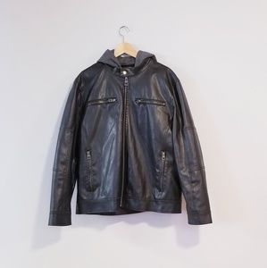 Guess Faux leather jacket with removable hood.